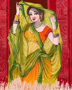 Indian Women Painting, Indian Art Paintings, Indian Artwork, Cool Art Drawings, Art Drawings Sketches, Drawing Pictures, Indian Art Gallery, Sexy Painting, Indian Illustration