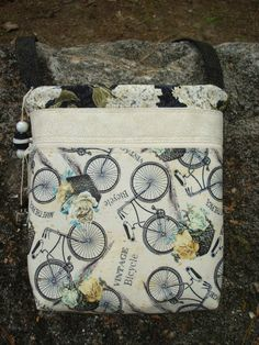 Black and White Vintage Bicycles Purse Cross by Jackiesewingstudio