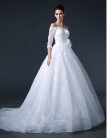 Stunning off shoulder 1/2 long sleeves lace appliques pearls beaded a-line court train wedding dresses  5w-206