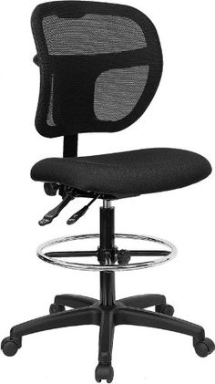 Flash Furniture WLA7671SYGBKDGG MidBack Mesh Drafting Stool with Black Fabric Seat >>> To view further for this item, visit the image link.Note:It is affiliate link to Amazon.