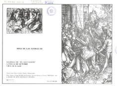 Semana Santa 1985 3 hojas plegadas con la convocatoria de Misa de las Ánimas de Jesús Nazareno con texto de Luis Calvo Cortijo