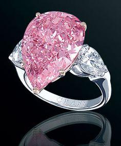 Graff Fancy Vivid Pink Pear Shaped Diamond. 13 Carats