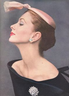 Suzie Parker  models witty Balenciaga hat 1950s