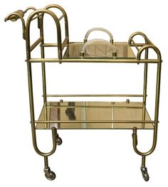 GLASS AND BRONZE COCKTAIL TROLLEY