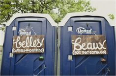 belles and beaux porta potty wedding signs, rustic wedding signs, 25 of the best wedding signs, creative wedding signage