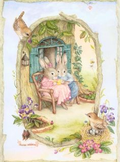 Illustration/Painting by Susan Wheeler Susan Wheeler, Bunny Art, Cute Bunny, Lapin Art, Beatrice Potter, Art Fantaisiste, Art Mignon, Woodland Creatures, Vintage Easter