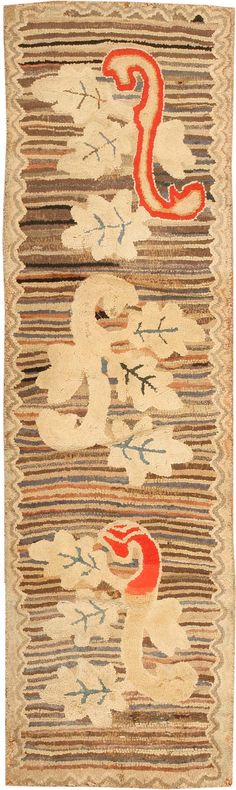 Early 20th century antique American hand hooked rug-looks like the inspiration for Karen Kahle's Majestic Runner