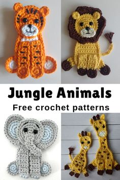 Free Crochet Pattern Jungle Animals Appliqués Find here a free. Free Crochet Pattern Jungle Animals Appliqués Find here a free crochet pattern to make these adorable tiger appliqués. Change the color and make a white tiger! Easy and quick to do. Easy Crochet Animals, Crochet Animal Hats, Crochet Animal Amigurumi, Crochet Animal Patterns, Stuffed Animal Patterns, Doll Patterns, Dress Patterns, Crochet Simple, Cute Crochet