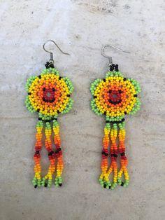 Happy face huichol earrings 3 long por ArtesaniasBatyah en Etsy