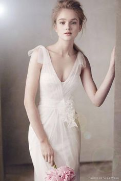 Wedding dress by Vera Wang (V Neck Satin Corset Gown with Grosgrain Sash Style)