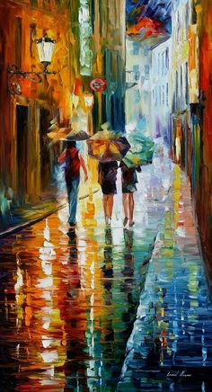 Italy oil painting - Italian Rain — Italy wall art, Italy wall decor, Leonid Afremov, Italy canvas a Simple Oil Painting, Rain Painting, City Painting, Oil Painting Abstract, Knife Painting, Painting Trees, Rain Art, Abstract City, Umbrella Art