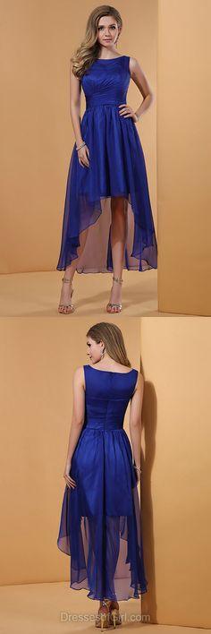 Chiffon Prom Dresses, Blue Formal Dresses, High Low Evening Dresses, Cheap Homecoming Dresses, Aline Party Dresses