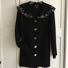 Lauren Hansen Studio light weight wool jacket Lauren Hansen Studio 100% light weight boiled wool black jacket, no lining, with front pockets, side slits, silver rivets on collar & 5 silver metal buttons. EUC. lauren hansen studio Jackets & Coats
