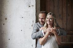 Captured by Adam Popovic Photography. #bride #beautiful #groom #hugging #rustic #wedding #Auckland #smiling #headpiece