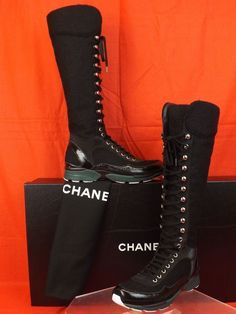 a994bedc205 Nib chanel black tweed patent leather cc lace up sneakers tall boots 39   1800