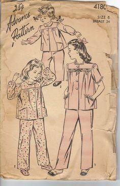 Vintage 1950's Girls Pajamas Pattern Advance by AtomicRegeneration, $3.89