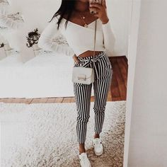 Autumn Winter women casual mid waist pants black striped bow tierricdr – rricdress