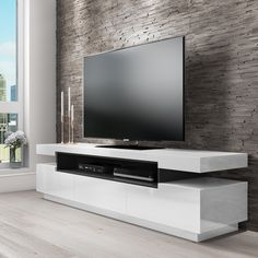 Buy Harlow White High Gloss TV Unit with Soundbar Shelf - TV's up to from - the UK's leading online furniture and bed store unit With Speakers White Tv Unit, Grey Tv Unit, High Gloss Tv Unit, White Tv Stands, Tv Stand Grey, Rack Tv, Living Room Tv Unit Designs, Grey Shelves, Large Tv