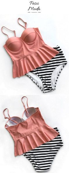 Peachy With Black Striped High Waisted Summer Hot Women's Bathing Suit at 50%Off. Get Additional 10% Off Your First Order. #TwoPieceSet #TwoPieceSwimsuit #TwoPieceOutfit #TwoPieceSwimwear #TwoPieceBathingSuit #SummerSwimsuit #2018Swimsuits #StripedSwimsuit #HighWaistedSwimsuit #StripedSwimsuit #BathingSuits #BathingSuitsForWomen #StripedBathingSuit #backlessswimwear
