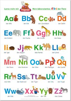 Playing Learning Publisher – Questionary – Learning Poster, The ABC with Wholesale and … – Buchstaben Lernen Abc Poster, Das Abc, Kindergarten Portfolio, German Language Learning, Learn German, Toddler Fun, Lower Case Letters, School Fun, Kids Education