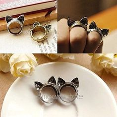 Fashion-Jewelry-Unisex-Vintage-Retro-Cute-Cat-Ears-Finger-Ring-Silver-Bronze