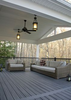 Custom Trex Deck/Porch, Malvern PA - Keystone Custom Decks - love the fan and fixtures - Outdoor Deck Lighting, Modern Deck Lighting, Design Jardin, Covered Decks, Covered Deck Designs, Covered Patio Design, Covered Porches, Covered Pergola, Backyard Patio Designs