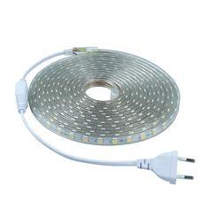 SMD 5050 AC 220 볼트 led 스트립 유연한 빛 1 메터/2 메터/3 메터/4 메터/5 메터/6 메터/7 메터/8 메터/9 메터/10 메터/15 메터/20 메터 + 전원 플러그, 60 leds/m 방수 led 빛
