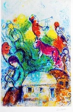 Lithograph - The Shophar (Shofar) Blower - Marc Chagall