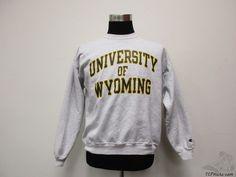 Vtg 90s Champion Wyoming Cowboys Crewneck Sweatshirt sz L Large University Grey #Champion #WyomingCowboys