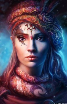Alex Tooth - digitální fantasy portréty žen s abstraktními prvky