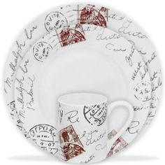 Amazon.com: Corelle Impressions Sincerely Yours 16-pc Set: Kitchen & Dining. These are nice and fun, too. Very well priced, too service for 8 people.