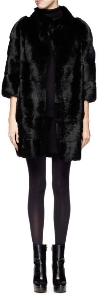 ARMANI Black Rabbit Fur Long Coat - Lyst