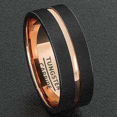 Mens Wedding Band Tungsten Ring 8mm Black Brushed Rose Gold Inner Comfort Fit