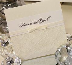 Wedding invitation, cream & white lace