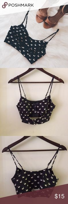 • TOPSHOP • Swan Crop Top This crop top/bralette is so cute! Great condition. Adjustable straps. No modeling. Cotton & Acetate. 0301173.  ✅Reasonable offers welcome! ✅BUNDLE OFFERS! No trades/paypal/other apps. No lowball offers. Topshop PETITE Tops Crop Tops