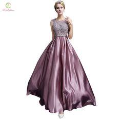 Long Evening Dress 2017 SSYFashion Luxury Lace Satin Banquet Formal Dress Plus Size Bridal Elegant Prom Dresses robe de soiree