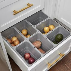 Pull-Out Utensil Drawer Organizer Produce Drawer Organizing Bins food storage drawer by Watchtower Interiors WATCHTOWER INTERIORS Free up counter space by moving potatoes, onions, and other unrefrigerated fruits and veggies from a produce bowl to a few pl Utensil Drawer Organization, Kitchen Organization Pantry, Diy Kitchen Storage, Kitchen Pantry, New Kitchen, Kitchen Decor, Organization Ideas, Kitchen Ideas, Organizing Drawers