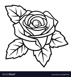 Rose sketch 004 vector image on VectorStock Beautiful Flower Drawings, Pretty Drawings, Art Drawings Sketches, Easy Drawings, Horse Drawings, Drawing Art, Rose Sketch Easy, Colouring Pages, Coloring Books