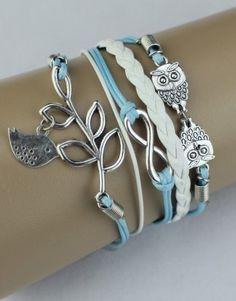Owls, Infinity, Bird on Branch Wrap Bracelet – Light Blue/White  $15.00  Fashion Jewelry at Modest Prices - www.gomodestly.com