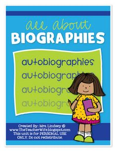Your students will love learning about biographies with this packet! The Autobiography activity in this unit is perfect for an end of the year proj...