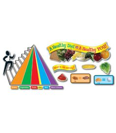 "This fun, health-themed bulletin board set includes:  A food pyramid (13.5"" x 10.5"" when assembled) 6 food group labels A nutrition facts label with call-outs A banner 8 serving-size examples Place setting with portion sizes 30 photographic foods A header A resource guide"