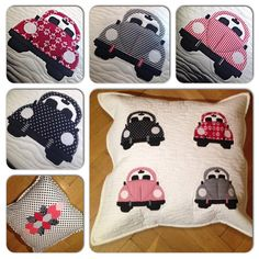 Cute pillow with four VW beetle applique on each (modern Lucy Boston ornaments on the back side). Measure is 40 x 50 cm. 100% hand made and 100%