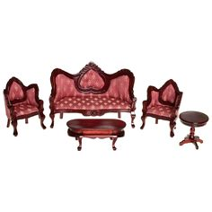 Have to have it. Mahogany & Rose Victorian Living Room Dollhouse Miniature Set $53.99