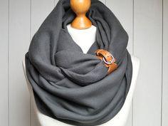 CHUNKY Schal, zusätzliche KLOBIGE Fleece Infinity Schal mit Holzkohle Snood, Leder Manschette, Winter Mode unendlich Schal