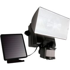 Solar-Powered 50-LED Motion-Activated Outdoor Security Floodlight (Black) - MAXSA INNOVATIONS - 40223
