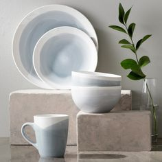 Features: -Dishwasher and microwave safe. -Mug capacity: 16 Ounce. -Set includes 4 dinner plates, 4 salad plates, 4 bowls and 4 mugs. Style (Old): -Modern. Stoneware Dinnerware Sets, Modern Dinnerware, Tableware, Dinnerware Ideas, Kitchenware, Everyday Dishes, Cabin Kitchens, Cookware Set, White Clay