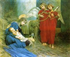 "Marianne Stokes (English, 1855 - 1927), ""Angels Entertaining the Holy Child"""