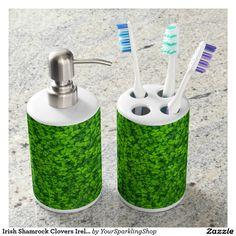 Irish Shamrock Clovers Ireland Floral Green Soap Dispenser & Toothbrush Holder