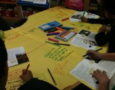 Graffiti tables for guided reading!  Great for determining importance, summarizing, main idea/details, etc.  So cool!