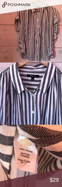 """Madewell Stripe SS Oversized Shirt from Spring '17 This button down Madewell shirt has a high to low hemline. From Madewell's Spring '17 collection. Very soft fabrication and drapey style. EUC  100% Viscose.  Length: Approximately 25"""" in front, 29"""" in back. Chest: Approximately 27"""" straight across. Sleeve: Approximately 1.5"""" Madewell Tops Blouses"""